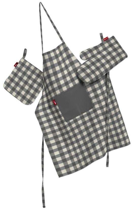 Komplet kuchenny fartuch,rękawica i łapacz, szaro biała kratka (1,5x1,5cm), kpl, Quadro