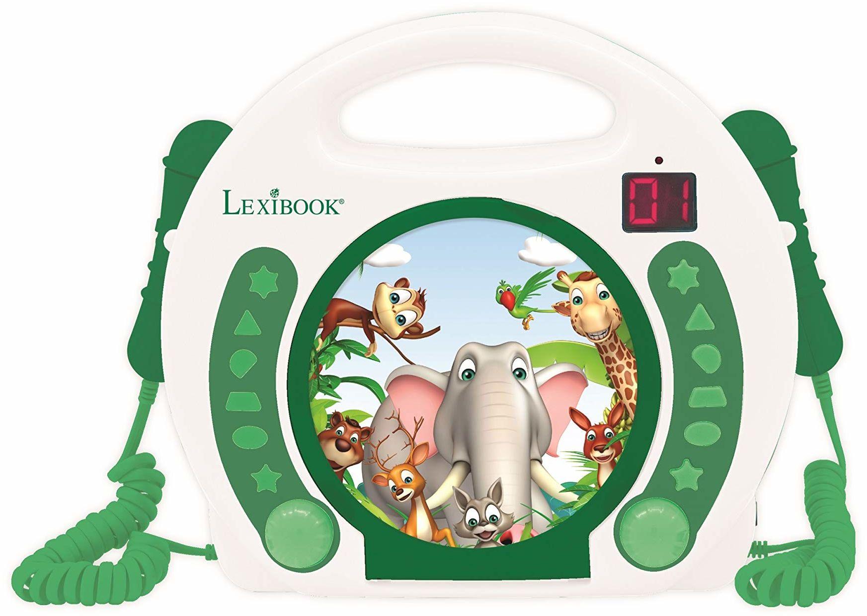 Lexibook RCDK100ANX zwierzęta przenośne mikrofon CD, odtwarzacz muzyczny, powtarzanie i programowanie, dżungla, karaoke, gniazdo słuchawkowe, dla dzieci, chłopców, dziewcząt, biały/zielony