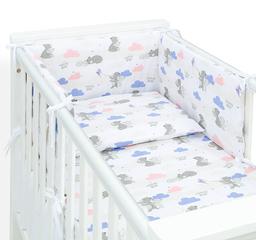 MAMO-TATO Ochraniacz dla niemowląt do łóżeczka 70x140 - Niedźwiadki z niebieskim