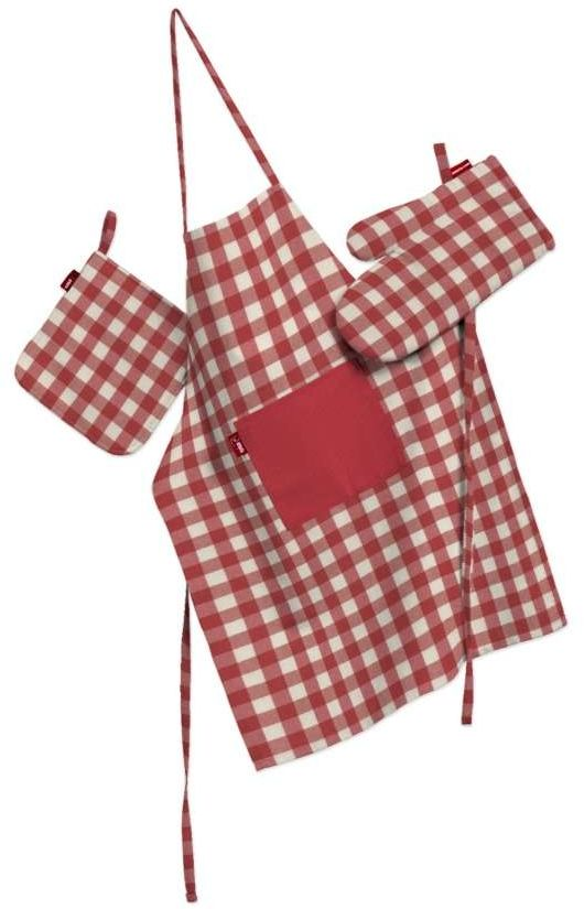 Komplet kuchenny fartuch,rękawica i łapacz, czerwono biała kratka (1,5x1,5cm), kpl, Quadro