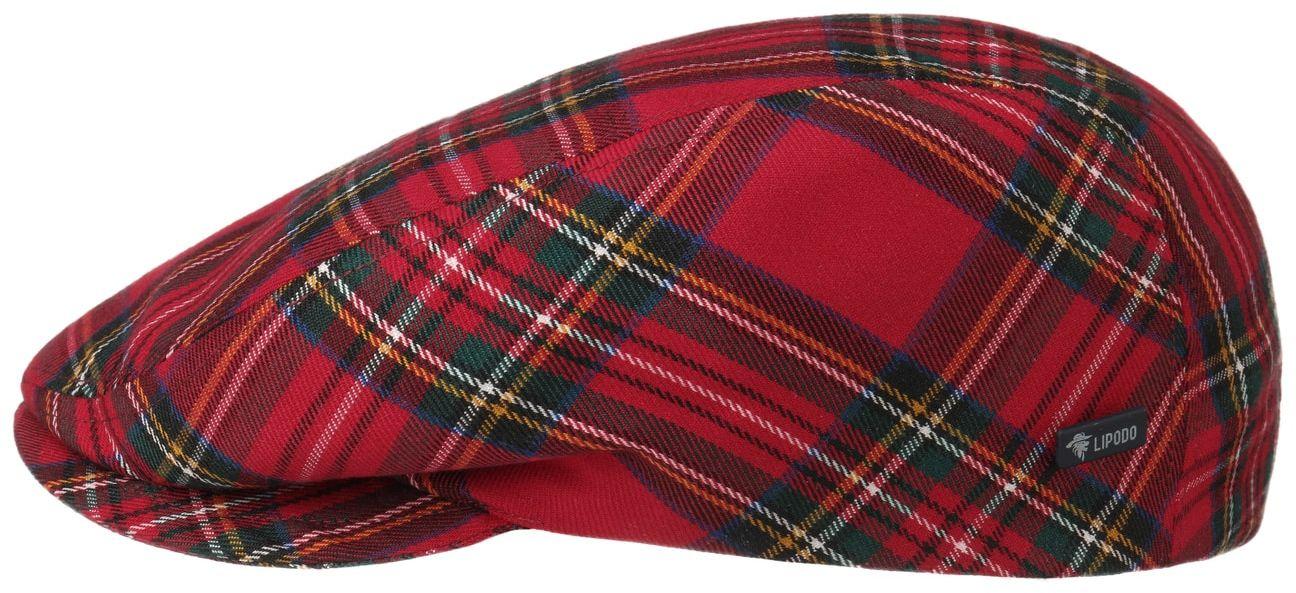 Tartan Check Flat Cap by Lipodo, czerwony, 55 cm