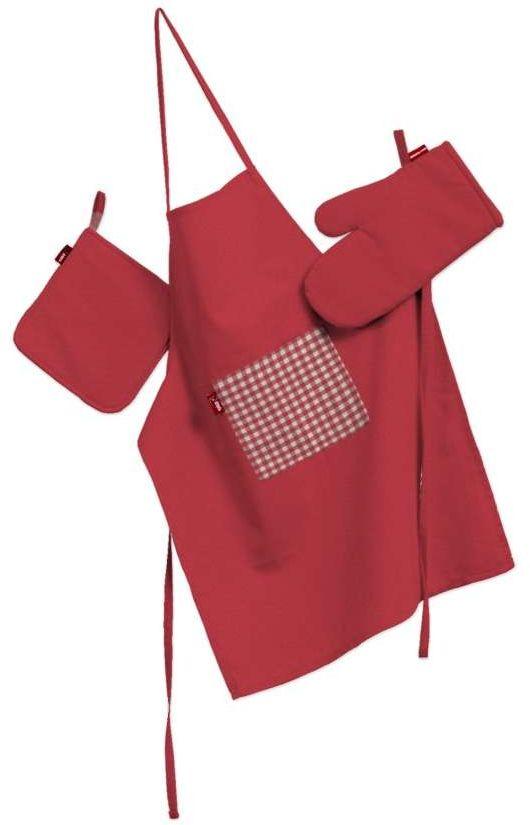 Komplet kuchenny fartuch,rękawica i łapacz, czerwony, kpl, Quadro