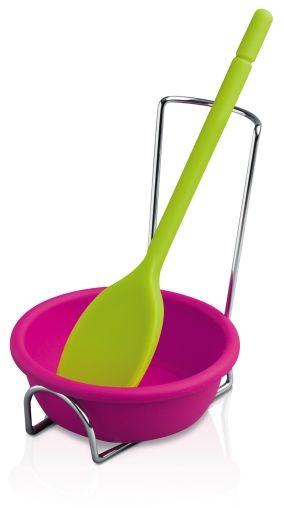 Silikonowy stojak na łyżki oraz pojemnik na sos