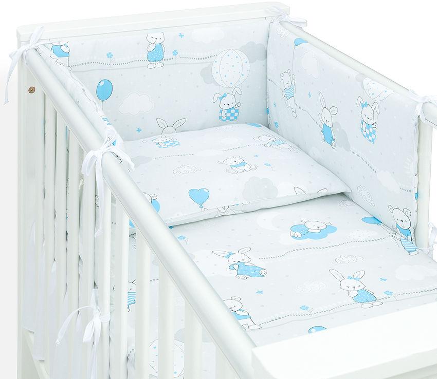 MAMO-TATO Ochraniacz dla niemowląt do łóżeczka 70x140 - Baloniki niebieskie