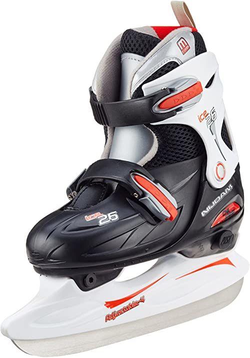 Nijdam Dziecięce łyżwy do hokeja na lodzie, regulowane rozmiary, czarny/czerwony/biały, 30-33