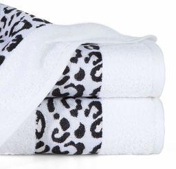Eurofirany ręcznik bawełniany miękki 70 x 140 cm wzór lamparta błyszczący metalowy szew bordiura, zestaw 3 sztuk, certyfikat Öko-Tex, biały, 70 x 140 cm, 3 sztuki