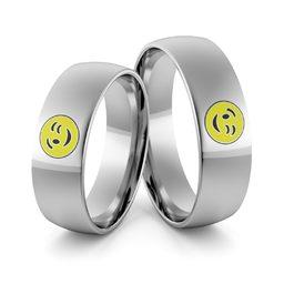 Obrączki ślubne z białego złota palladowego emotki emalia - Au-987