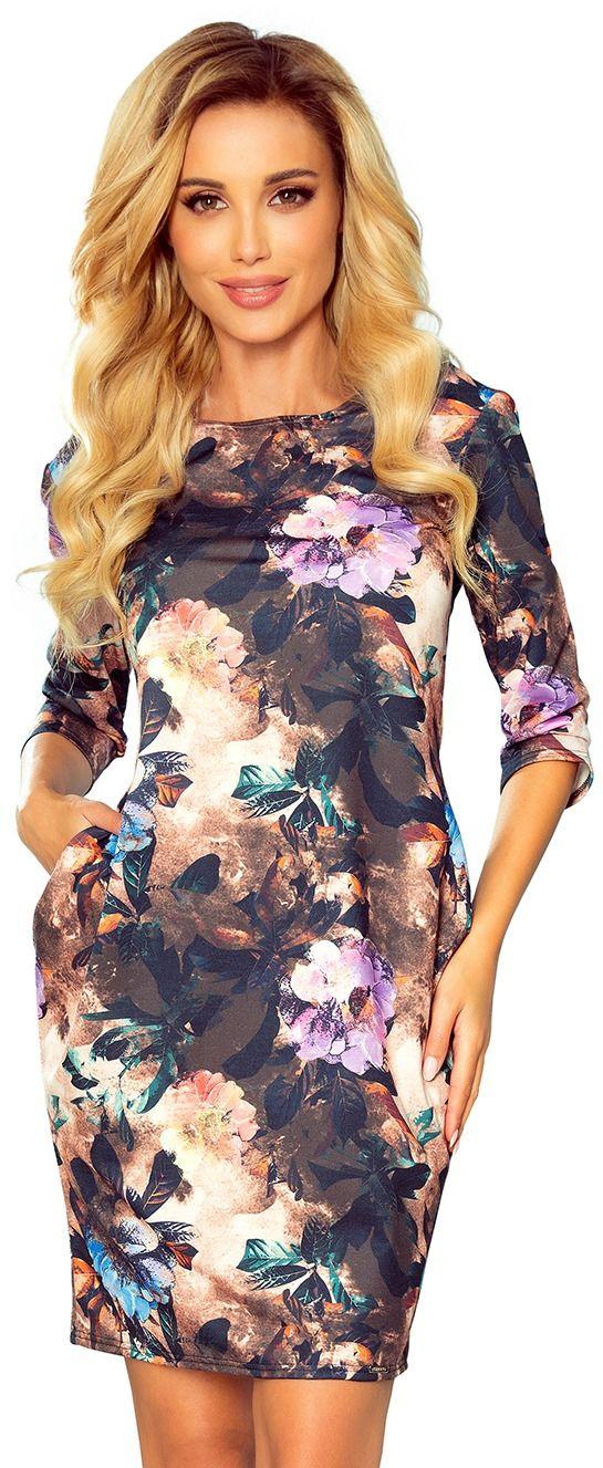 Jeansowa sukienka prosta z kieszeniami - brązowa w kwiaty