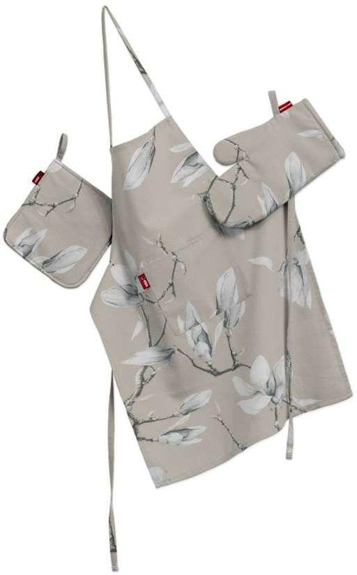Komplet kuchenny fartuch,rękawica i łapacz, magnolie na beżowym tle, kpl, Flowers