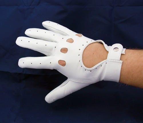 Białe rękawiczki do samochodu, skórzane