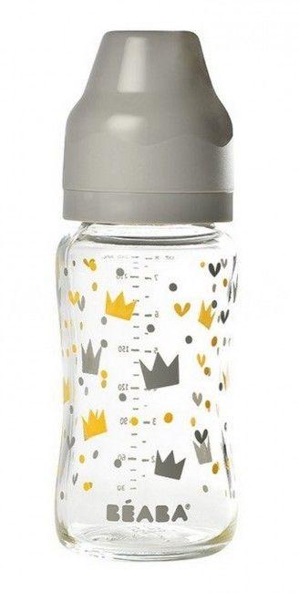 Beaba Butelka Szklana Szerokootworowa 240 ml Yellow / Grey Crown