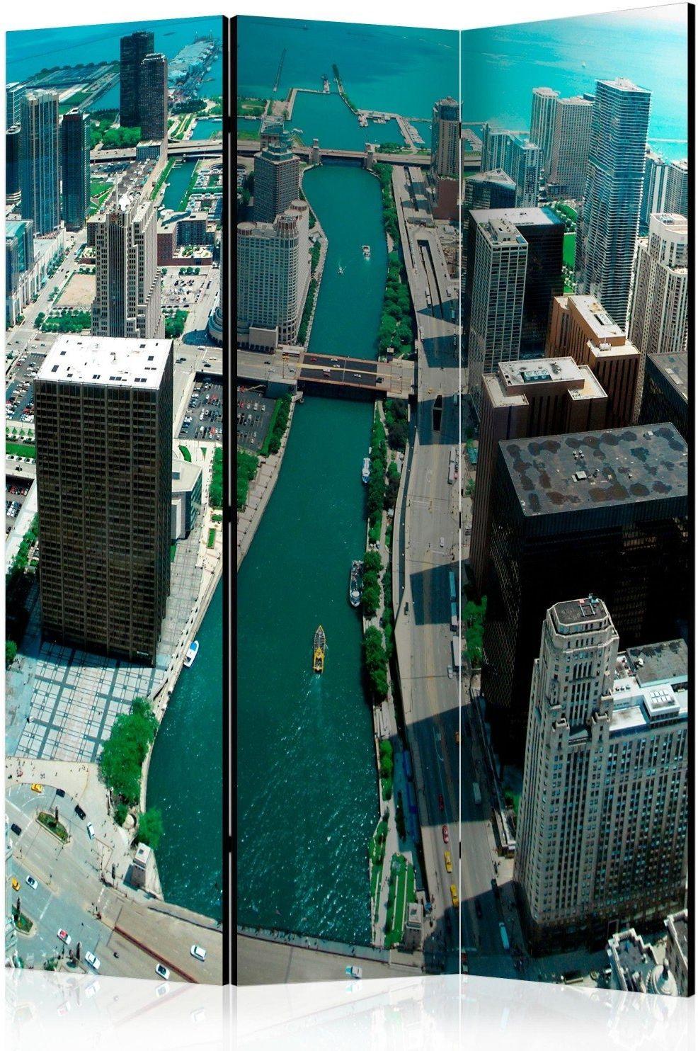 Parawan 3-częściowy - architektura miejska chicago [room dividers]