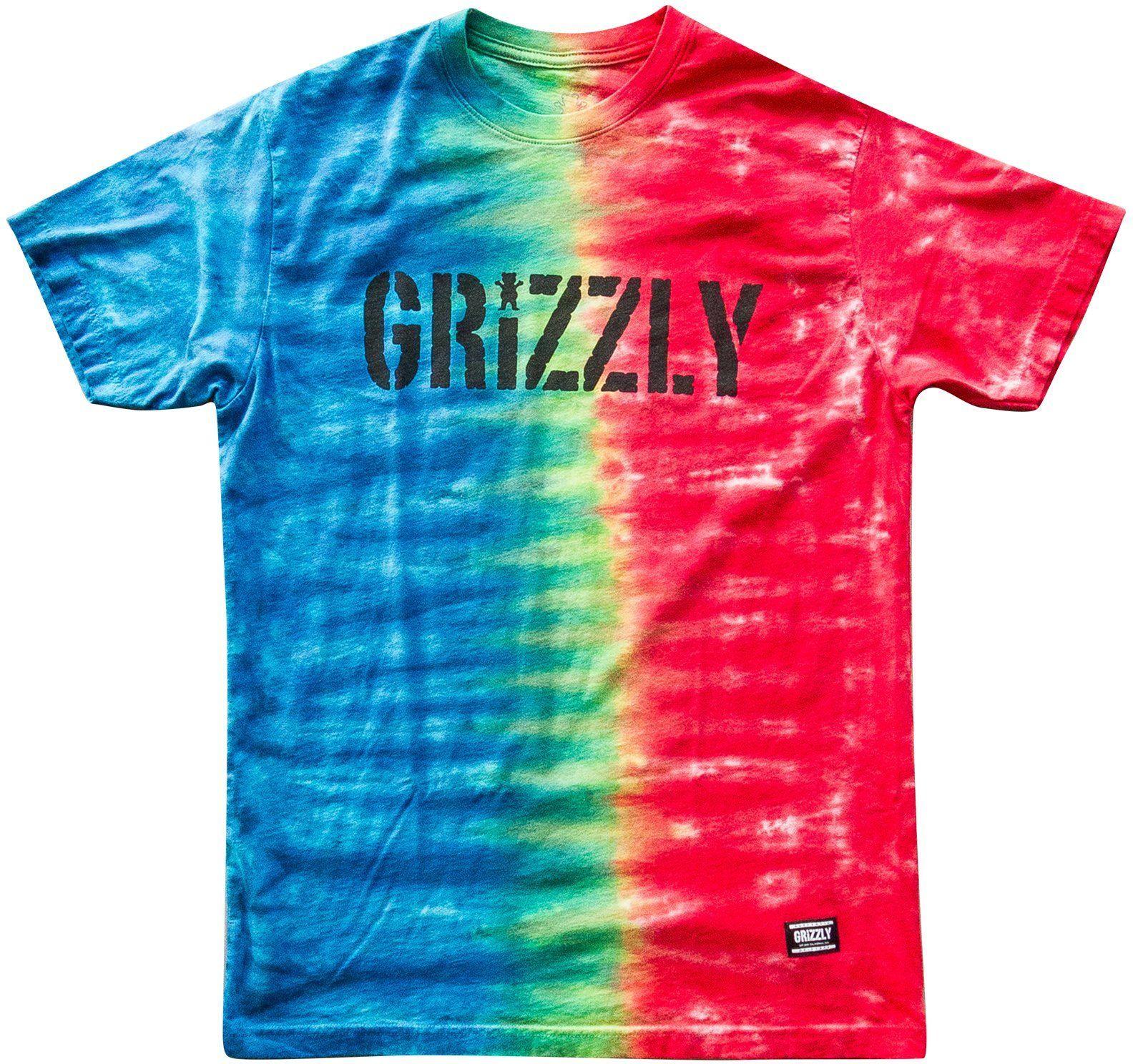 t-shirt męski GRIZZLY ACID STAMP TIE-DYE TEE White