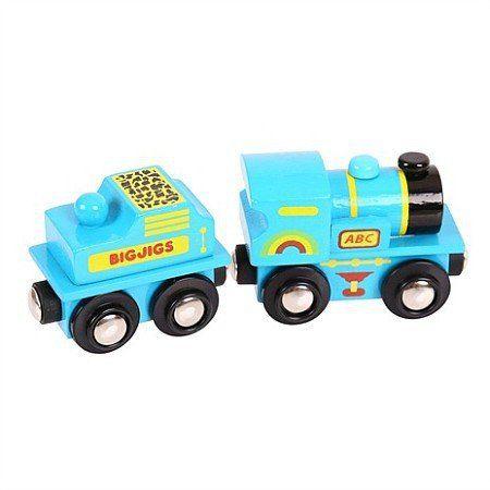 Niebieska, drewniana lokomotywa do kolejek, BJT411-Bigjigs Rail - kolejka drewniana