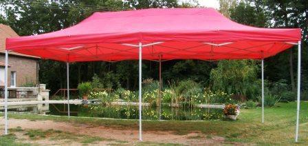 Ogrodowy namiot party DELUXE nożycowy - 3 x 6 m czerwony.