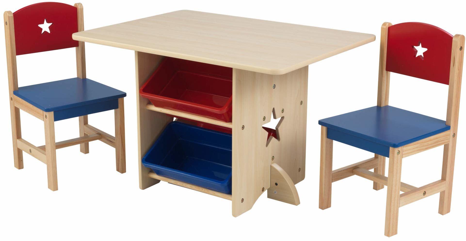 KidKraft 26912 gwiazda drewniany stół i 2 krzesła zestaw z koszami do przechowywania, meble do zabawy dla dzieci/sypialni dla dzieci, czerwony i niebieski