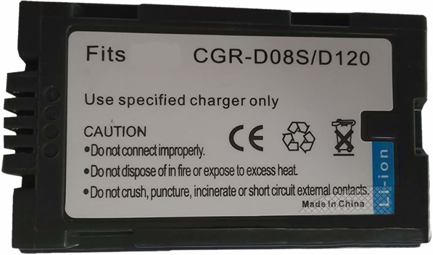 Amsahr Digital Replacement Camera and Camcorder Battery for Panasonic CGR-D120, CGR-D08