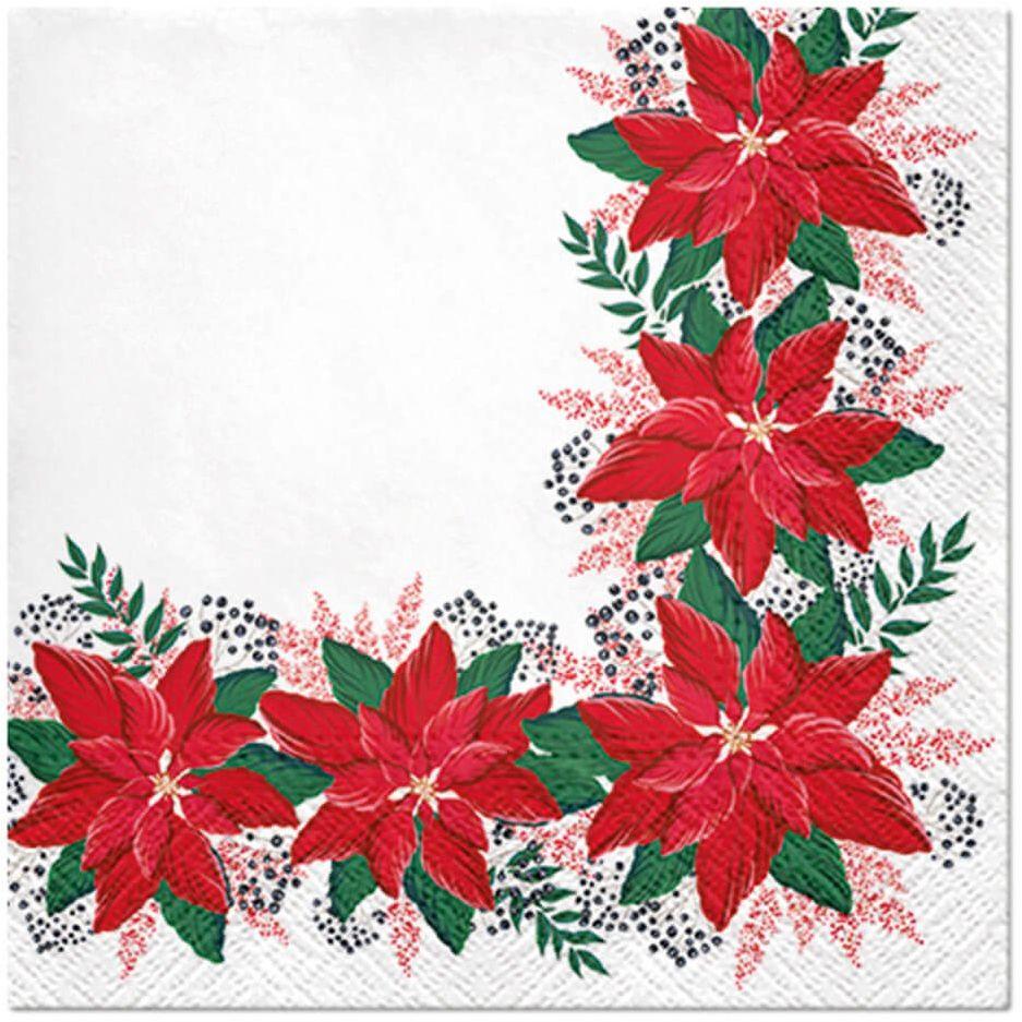 Serwetki bożonarodzeniowe Poinsecja - 33 cm - 20 szt.