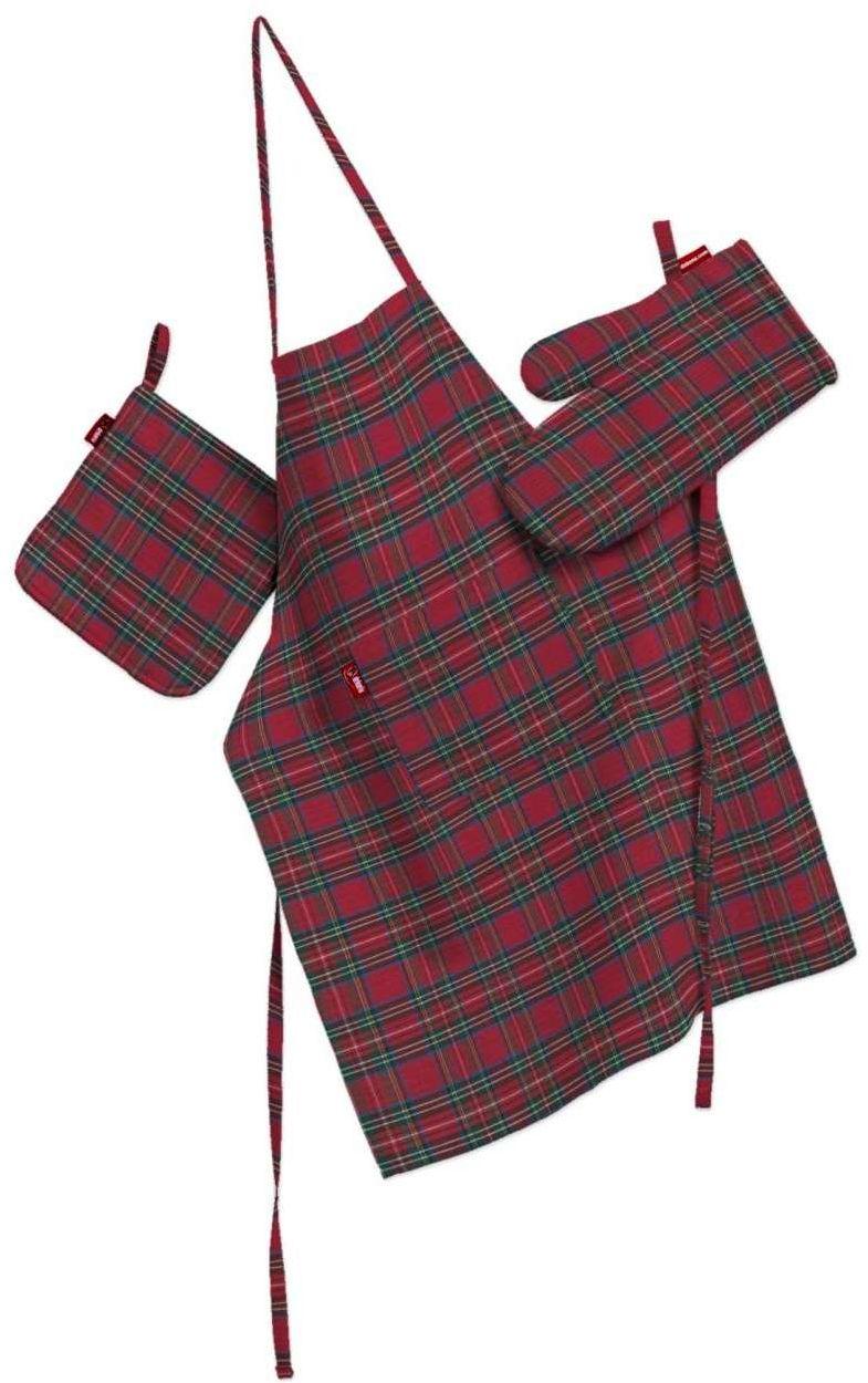 Komplet kuchenny fartuch,rękawica i łapacz, czerwona kratka, kpl, Bristol