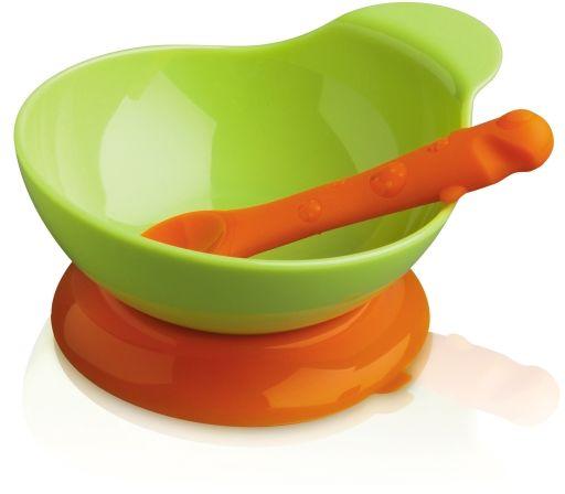 Zestaw dla dziecka:miska i silikonowa łyżeczka zielona