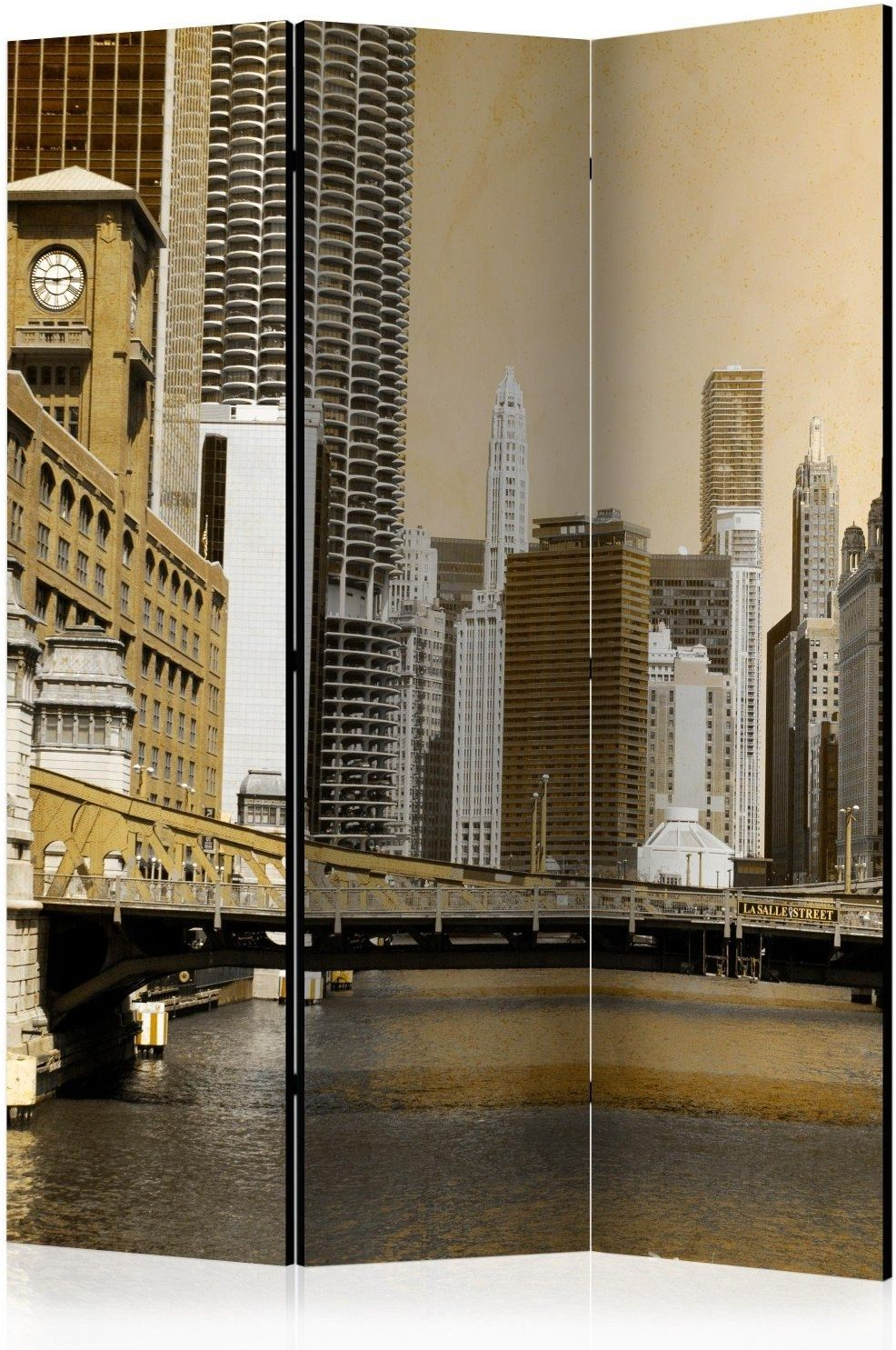 Parawan 3-częściowy - most w chicago (efekt vintage) [room dividers]