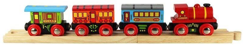Pociąg osobowy z czerwoną lokomotywą, BJT421-Bigjigs Rail