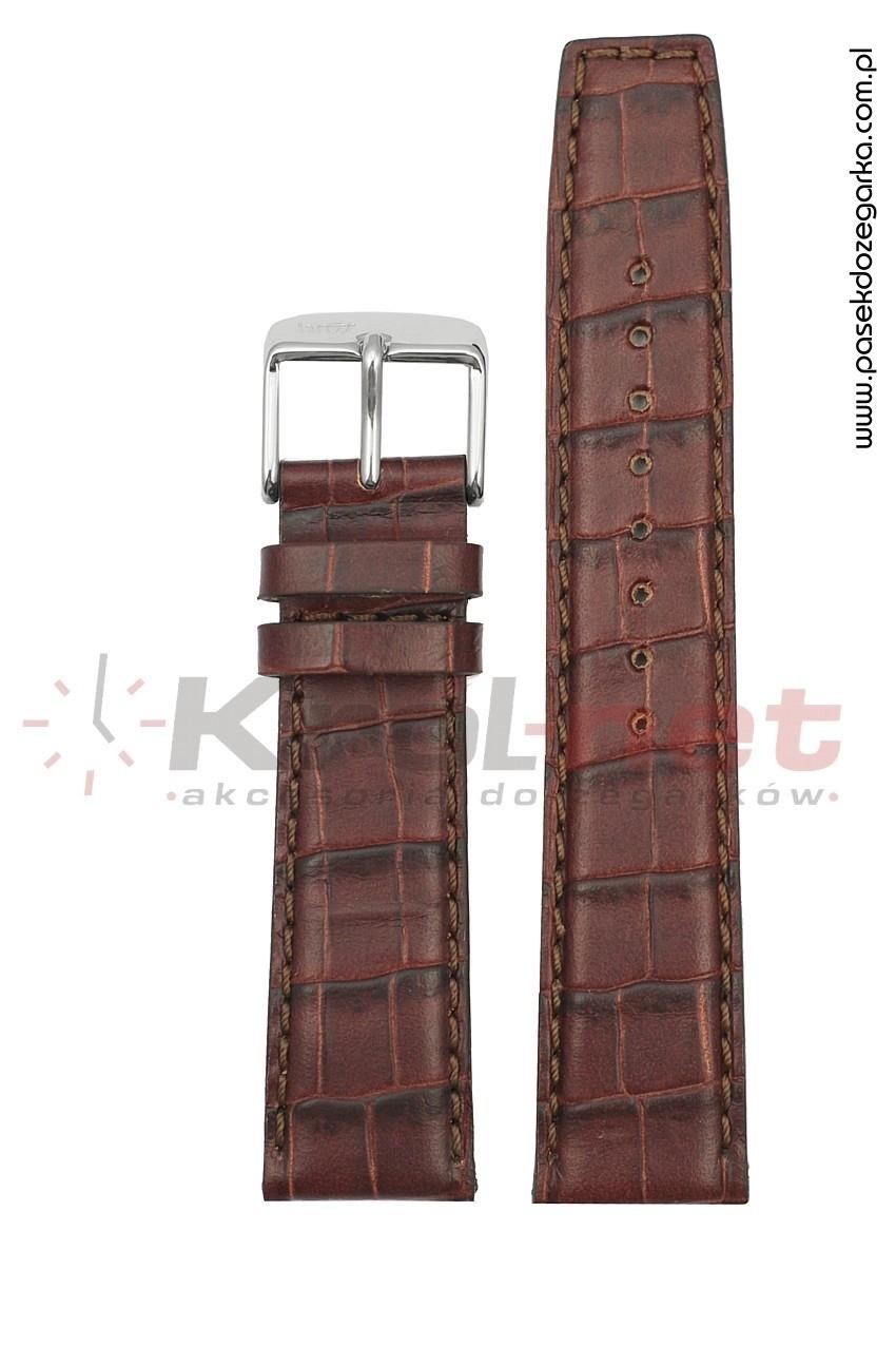 Pasek 8436/20/24 - brązowy, faktura krokodyla