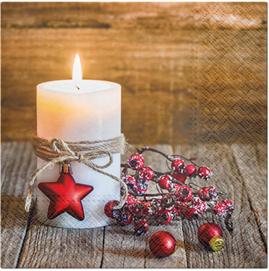 Serwetki bożonarodzeniowe Świąteczna Świeczka - 33 cm - 20 szt.