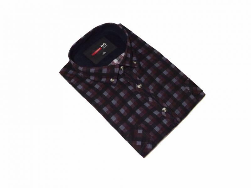 DUŻA koszula sztruksowa bordowo-czarna duży rozmiar