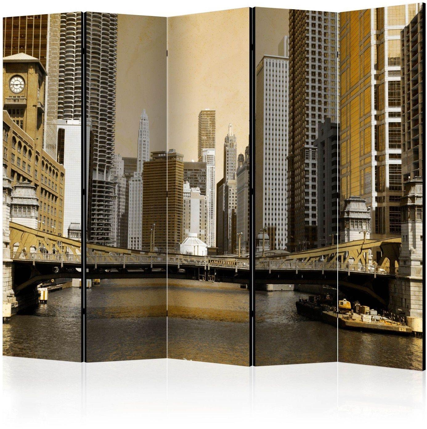 Parawan 5-częściowy - most w chicago (efekt vintage) ii [room dividers]