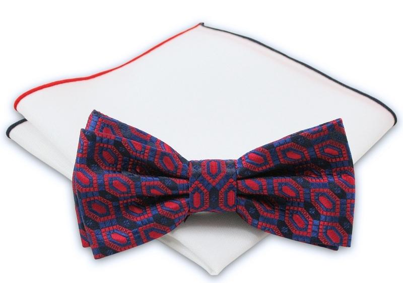 Granatowo-Czerwona Mucha + Biała Poszetka - Chattier - Wzór Geometryczny, Męska MUCH0242