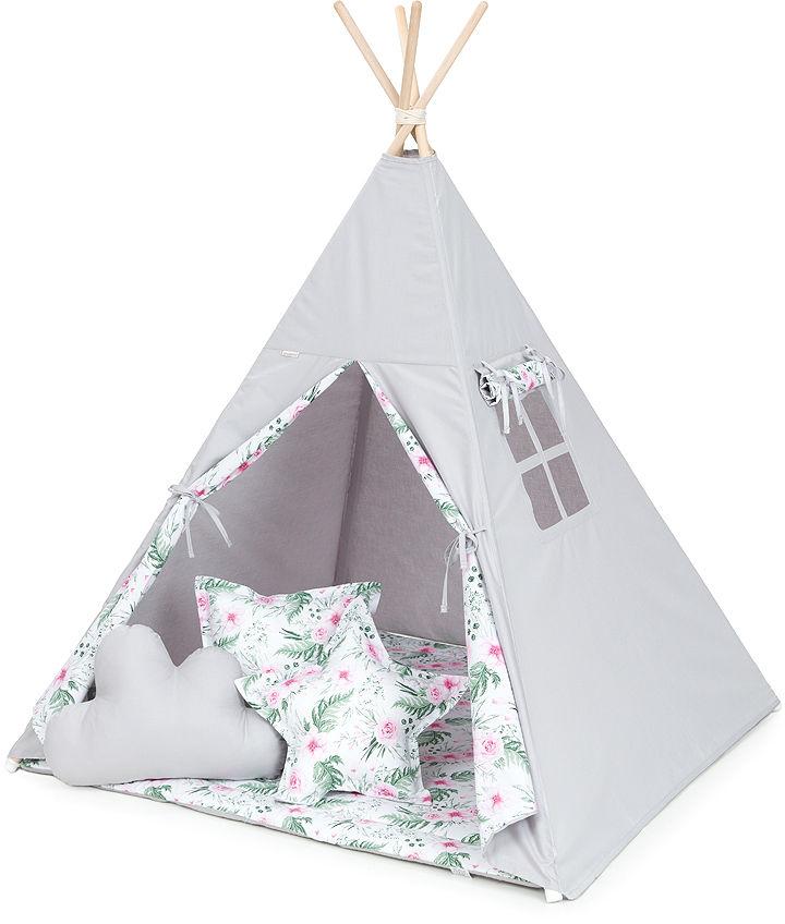 MAMO-TATO Namiot TIPI DUŻY z matą i poduszkami Popiel / różany ogród