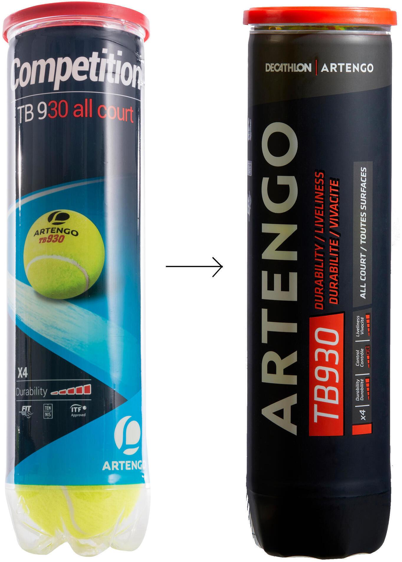 Piłka tenisowa Artengo TB930 SPEED 4 sztuki
