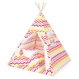 MAMO-TATO Namiot TIPI DUŻY z matą Zygzak żółto-czerwony / biały