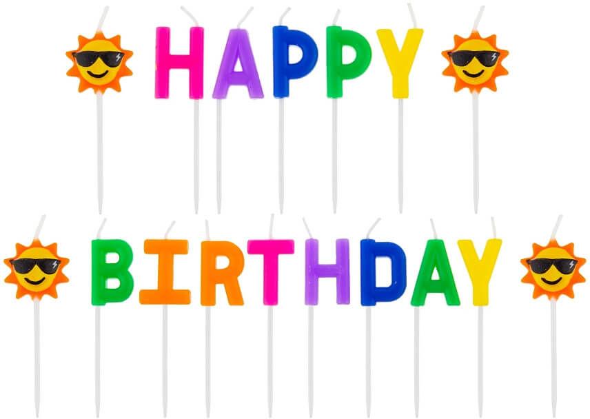 Świeczki pikery napis - Happy Birthday