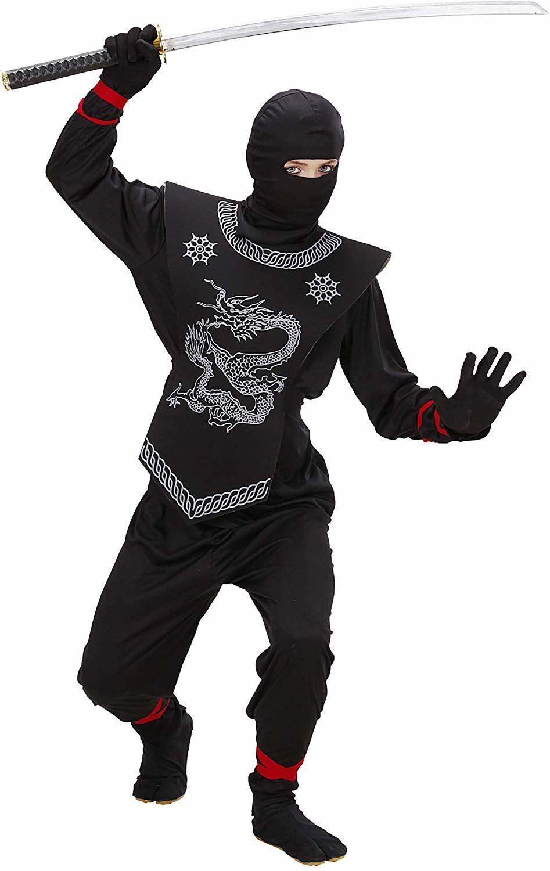 Widmann 74528 Kostium Ninja, Dziecięcy, Czarny, 158 cm