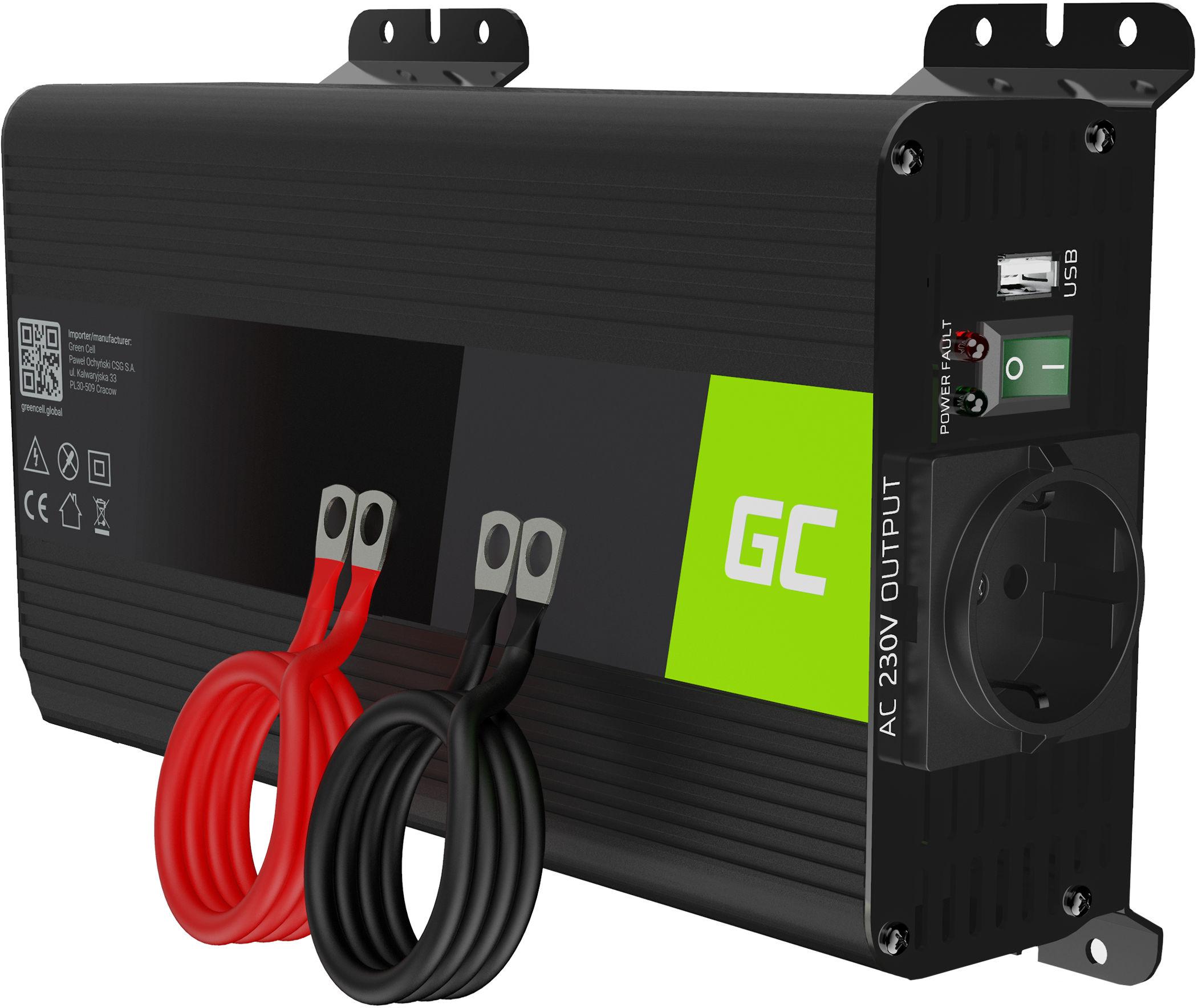 Przetwornica napięcia Inwerter Green Cell PRO 12V na 230V 500W/1000W Czysta sinusoida