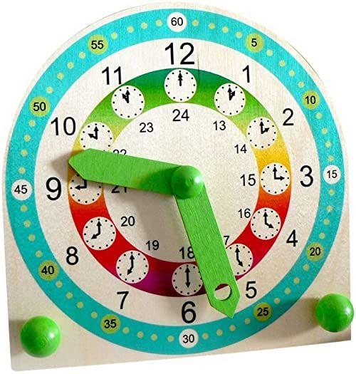 Hess 14659  stojący zegar do nauki dzieci z drewna, ok. 18 x 18 x 2 cm