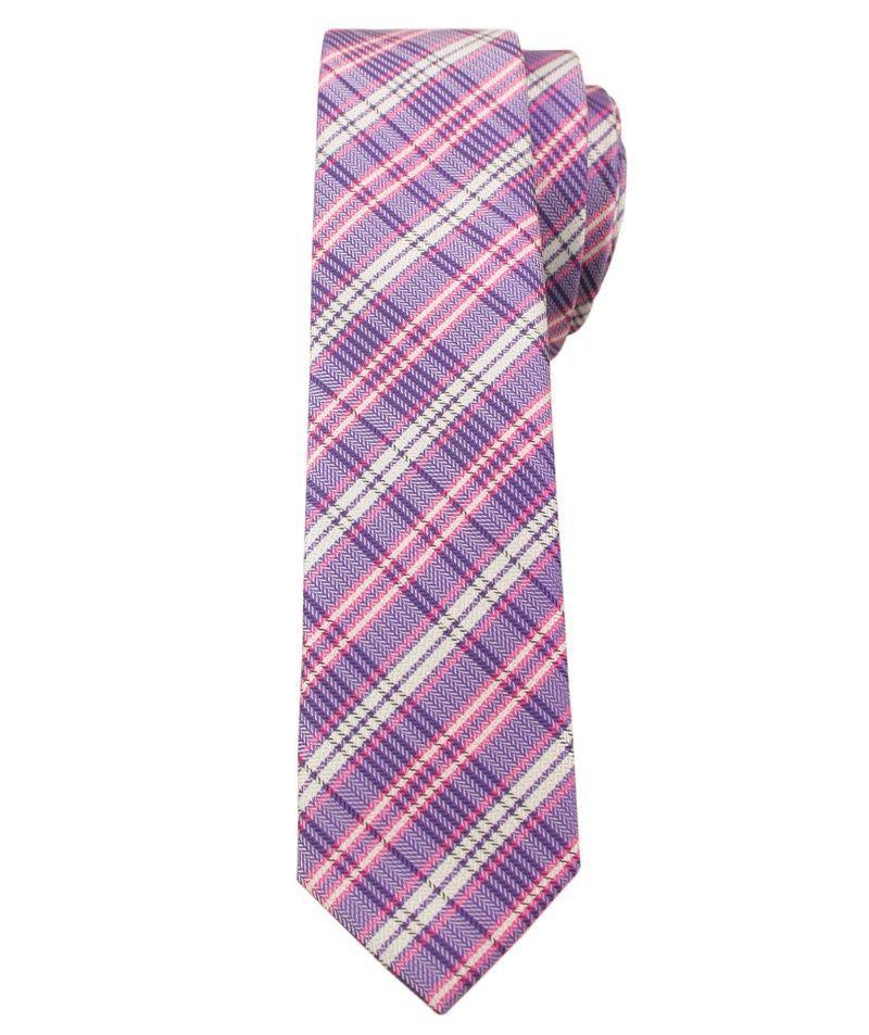 Fioletowo-Różowy Stylowy Krawat (Śledź) Męski -ALTIES- 5 cm, Wąski, w Kratkę KRALTStani0233