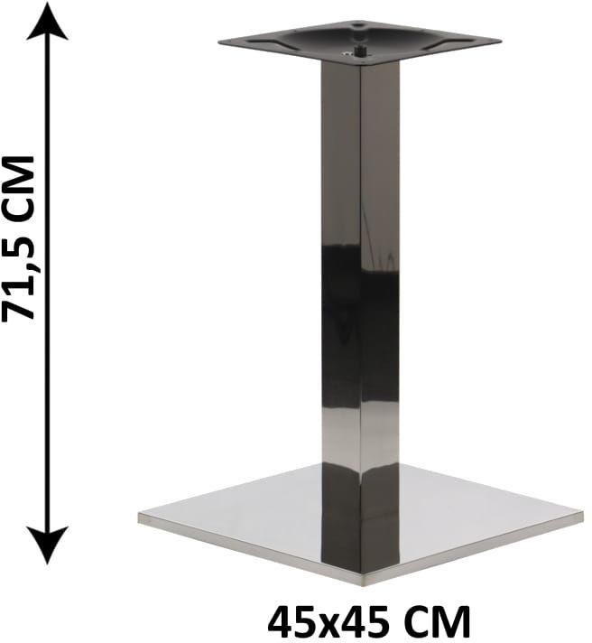 Podstawa stolika SH-2002-1/P/8, 45x45 cm, stal nierdzewna polerowana, obciążnik z tworzywa sztucznego, (stelaż stolika)