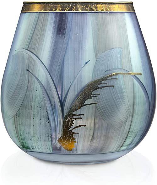 Angela Neue Wiener Werkstätte Świecznik Vesuvio Aqua wazony z kolorowego szkła, niebieski, 15 cm