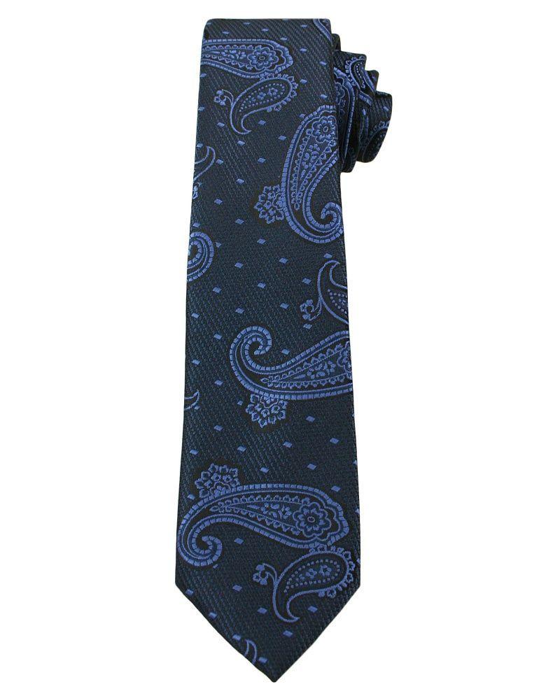 Granatowy Elegancki Krawat w Łezki -ALTIES- 6 cm, Męski, Paisley KRALTS0252