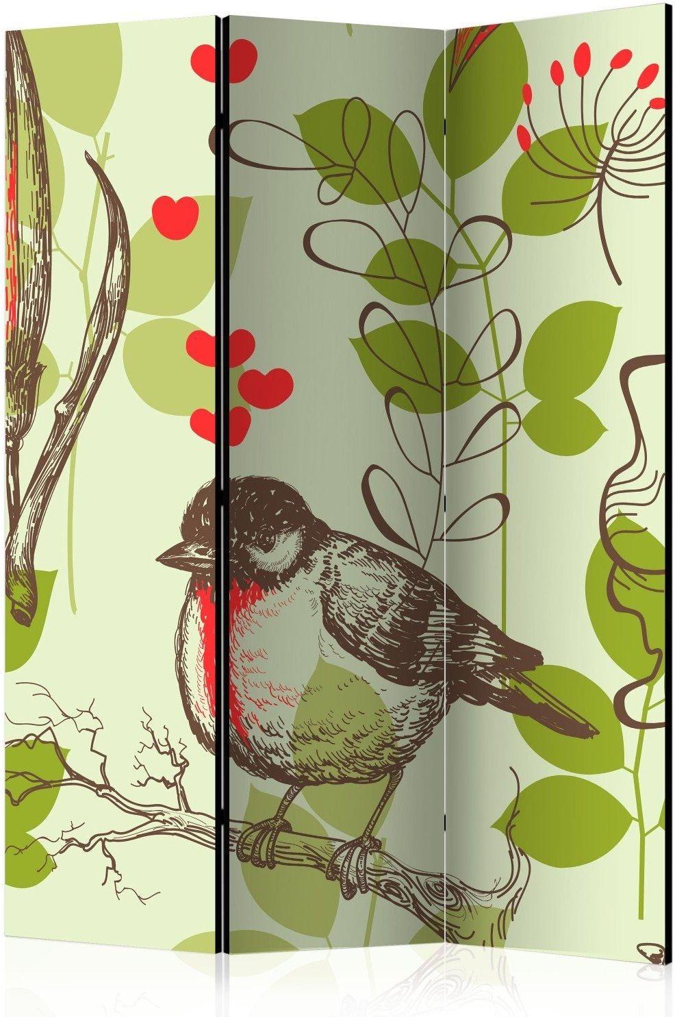 Parawan 3-częściowy - ptak i lilie - motyw vintage [room dividers]