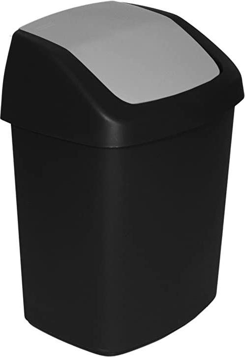 Curver kosz na odpady z huśtawką 15 l w kolorze czarnym/szarym, 30,6 x 24,8 x 41,8 cm