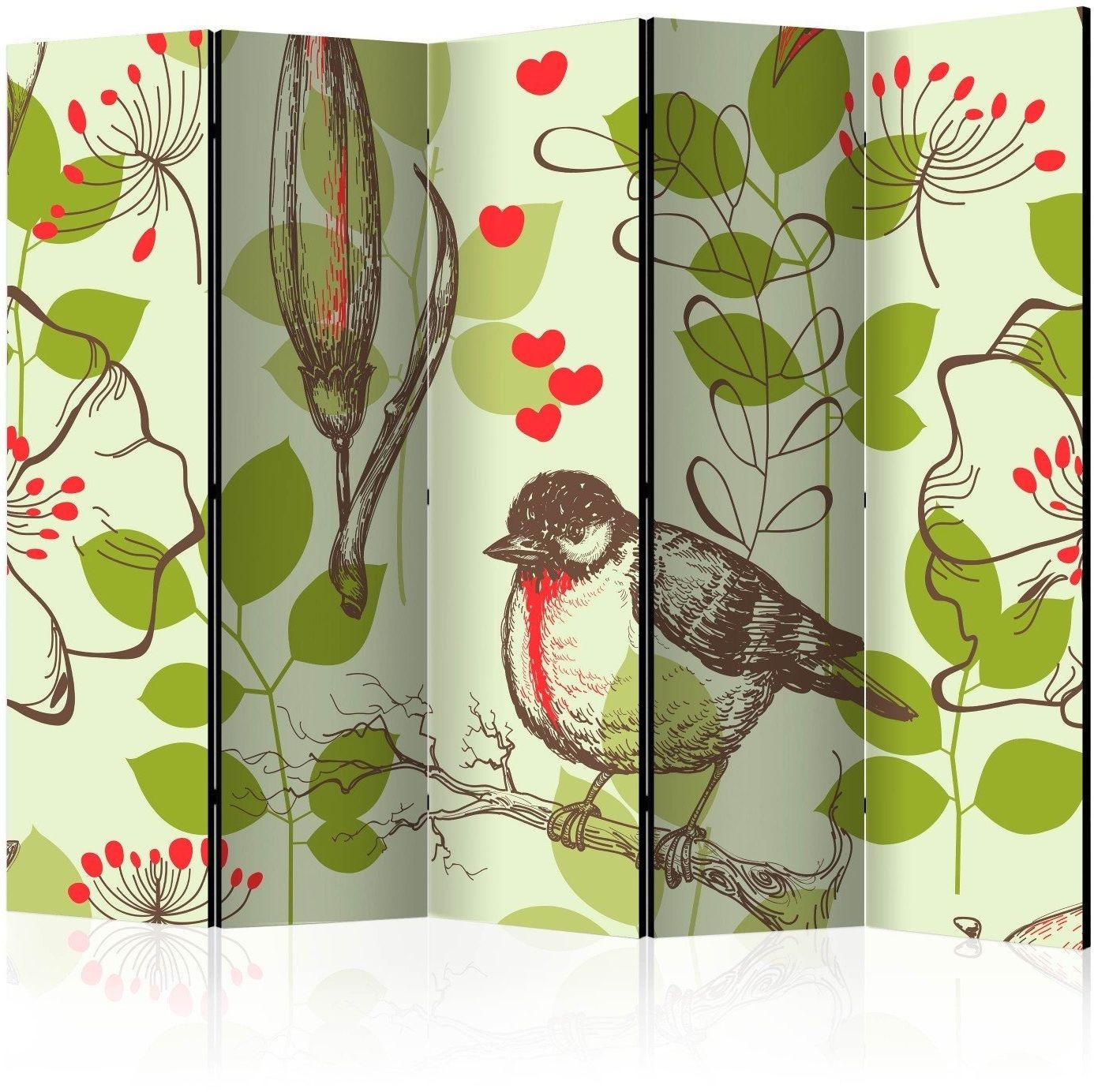 Parawan 5-częściowy - ptak i lilie - motyw vintage ii [room dividers]