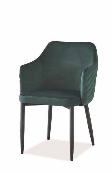 Krzesło ASTOR VELVET zielone tapicerowane na metalowych nogach  KUP TERAZ - OTRZYMAJ RABAT