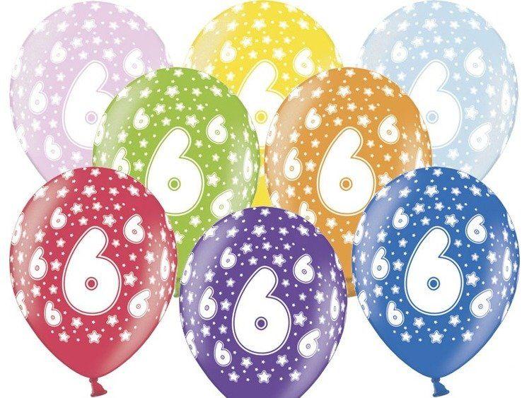 Balony 6 na szóste urodziny 6 sztuk SB14M-006-000-6