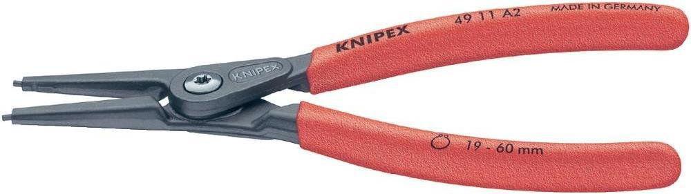 szczypce do pierścieni Segera zewnętrzne, proste, zakres 19-60mm, KNIPEX [49 11 A2]