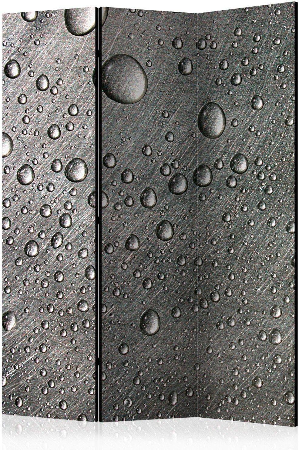 Parawan 3-częściowy - stalowa powierzchnia z kroplami wody [room dividers]