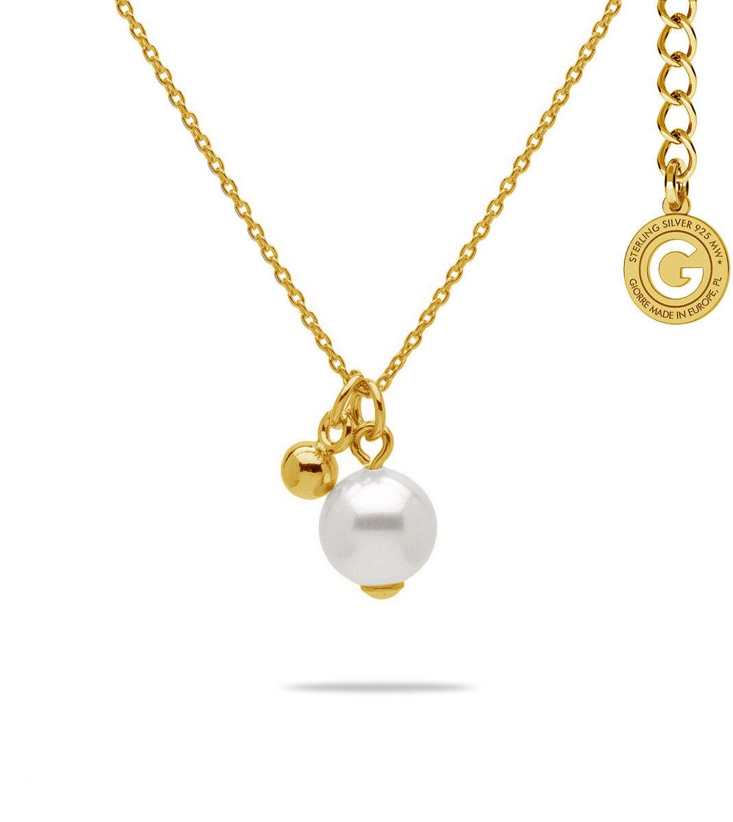 Naszyjnik z perłą Swarovski, srebro 925 : Perła - kolory - SWAROVSKI WHITE, Srebro - kolor pokrycia - Pokrycie żółtym 18K złotem